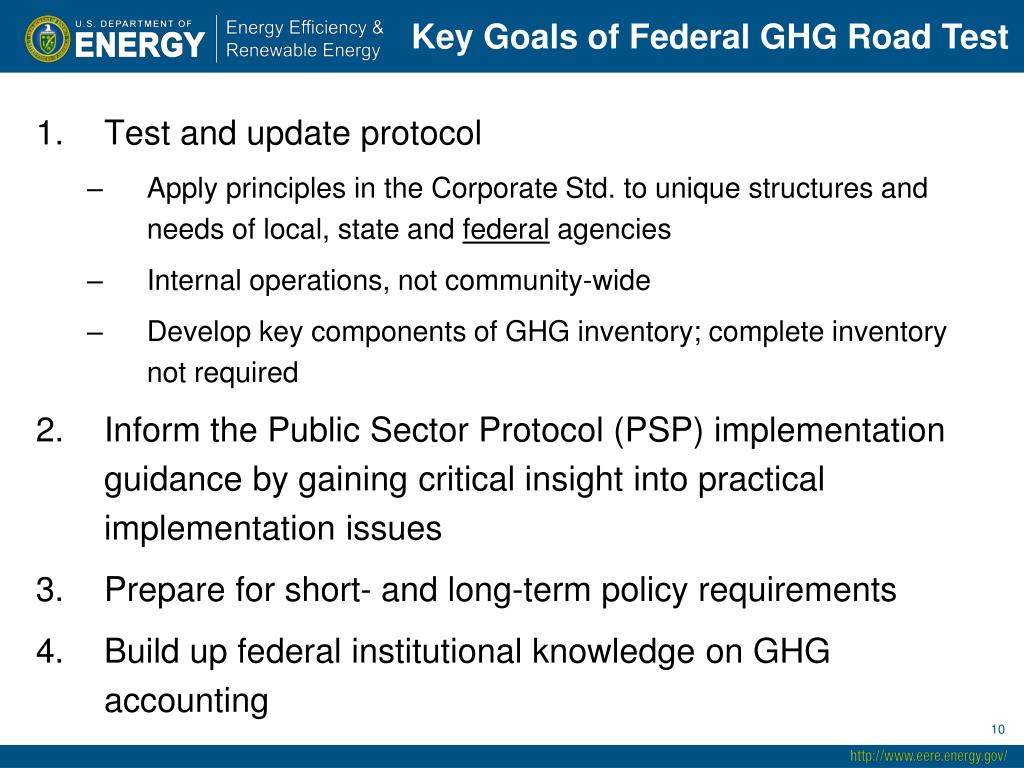 Key Goals of Federal GHG Road Test