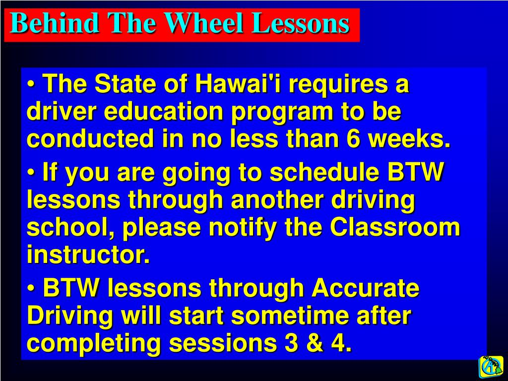 Behind The Wheel Lessons