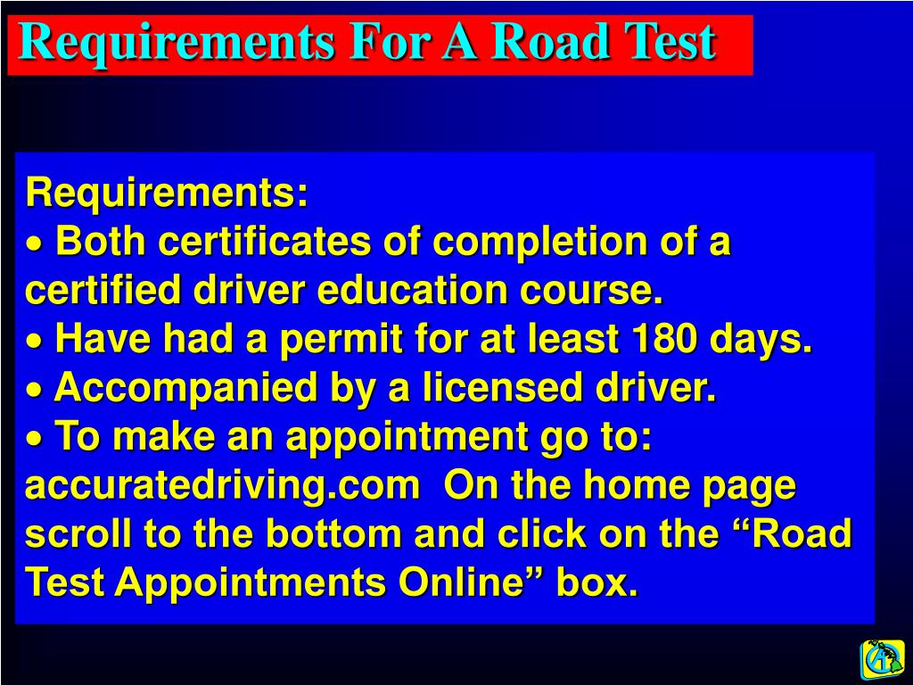 Requirements For A Road Test