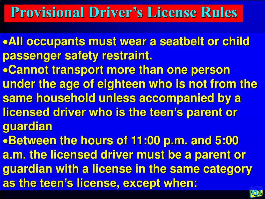 Provisional Driver's License Rules