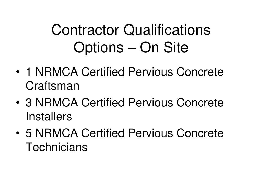 Contractor Qualifications