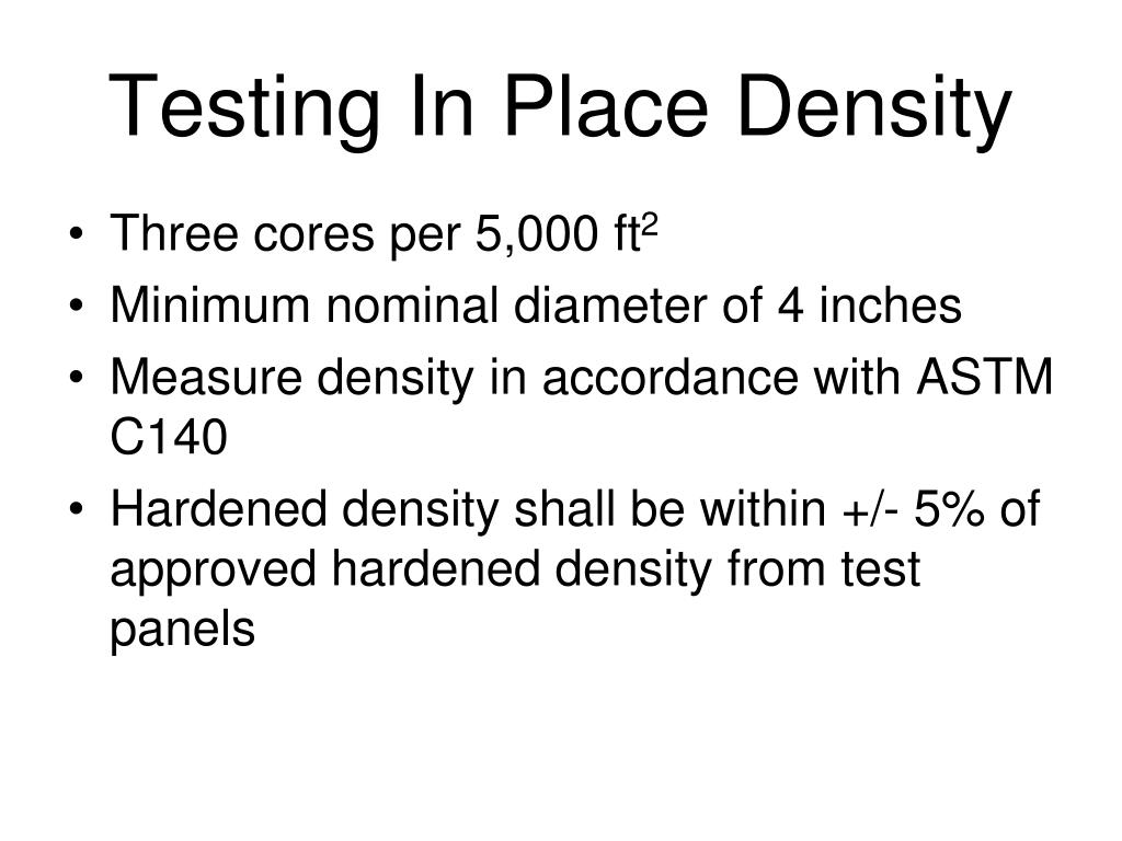 Testing In Place Density