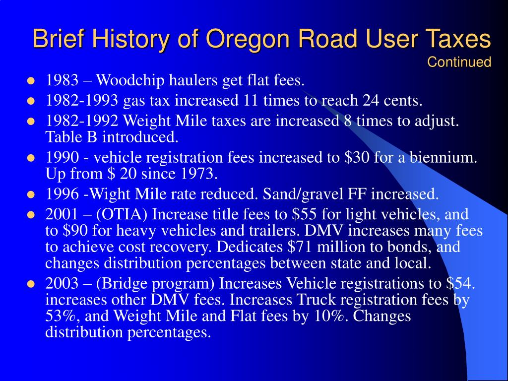 Brief History of Oregon Road User Taxes