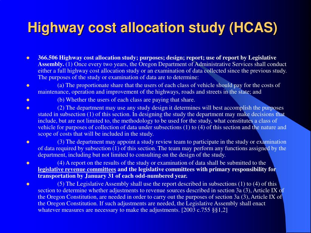 Highway cost allocation study (HCAS)