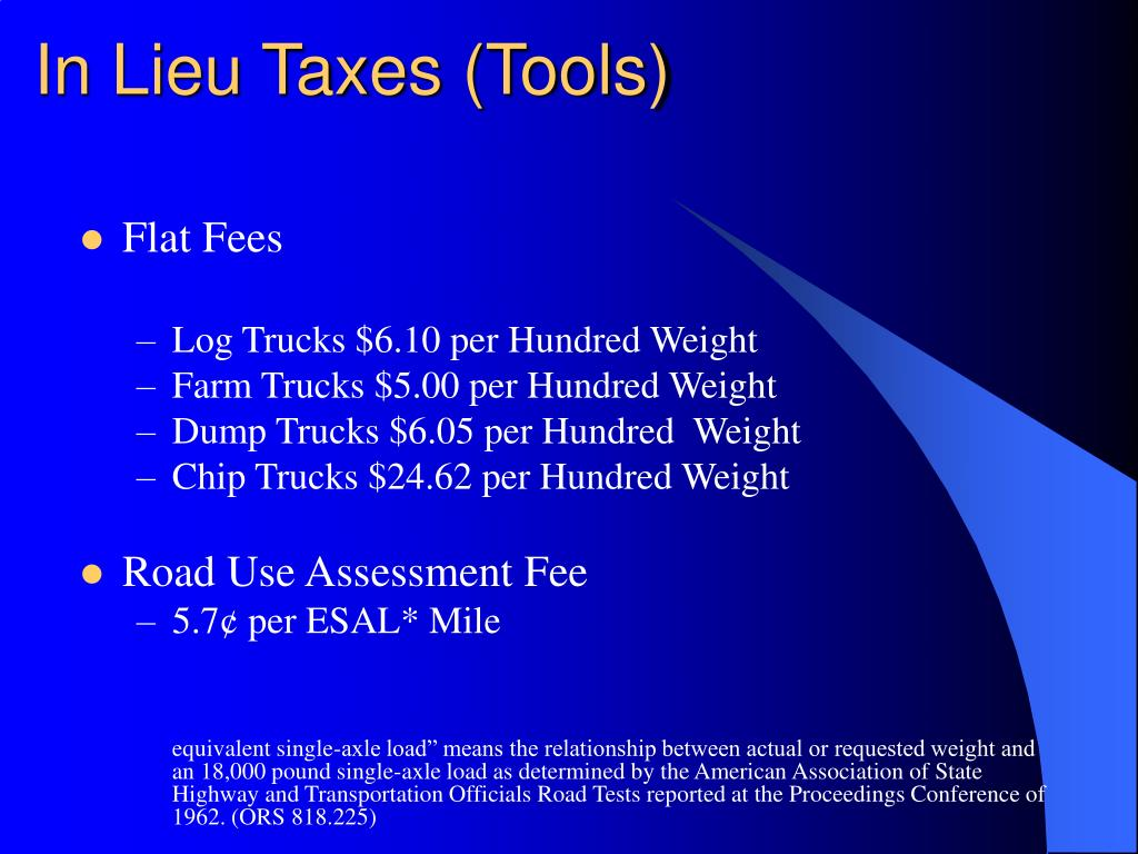 In Lieu Taxes (Tools)