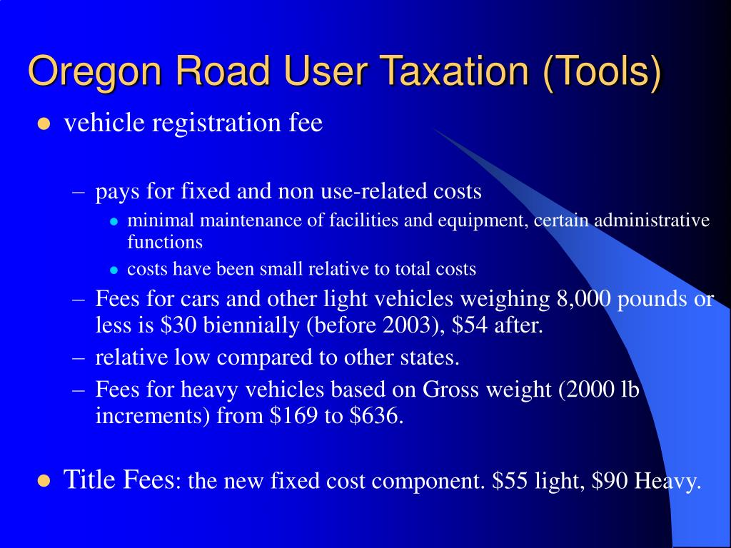 Oregon Road User Taxation (Tools)