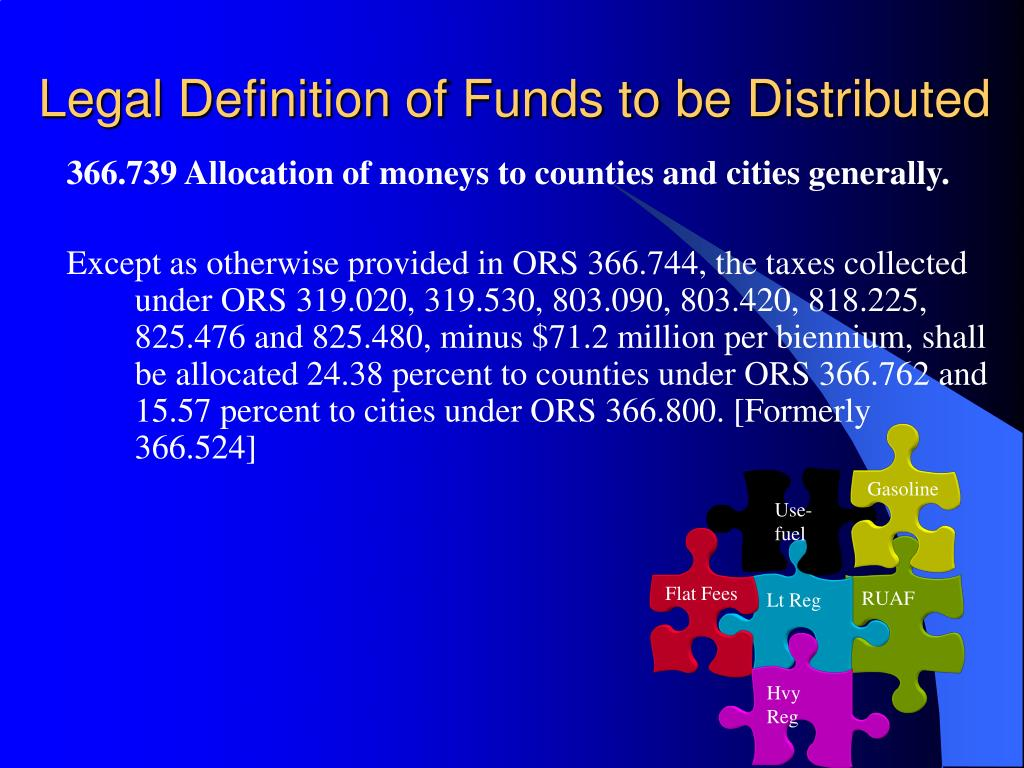 Legal Definition of Funds to be Distributed