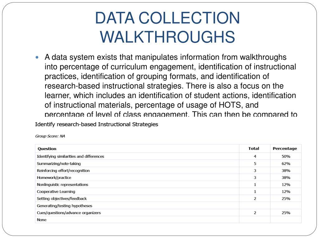 DATA COLLECTION WALKTHROUGHS