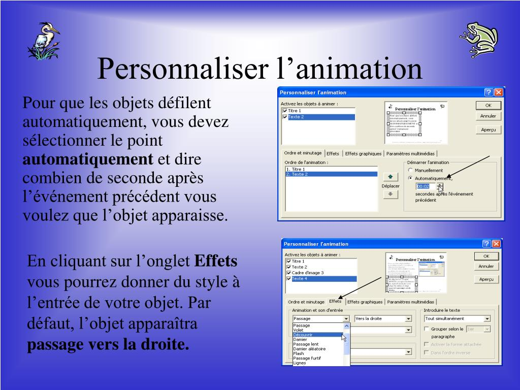 Personnaliser l'animation