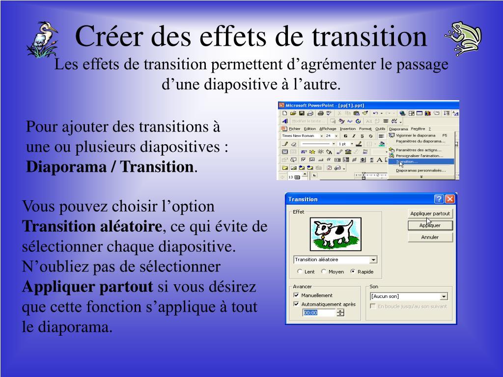 Créer des effets de transition