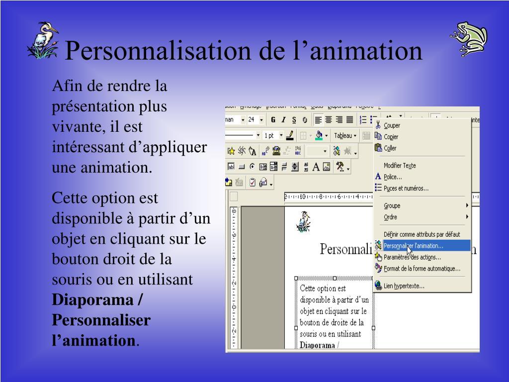 Personnalisation de l'animation