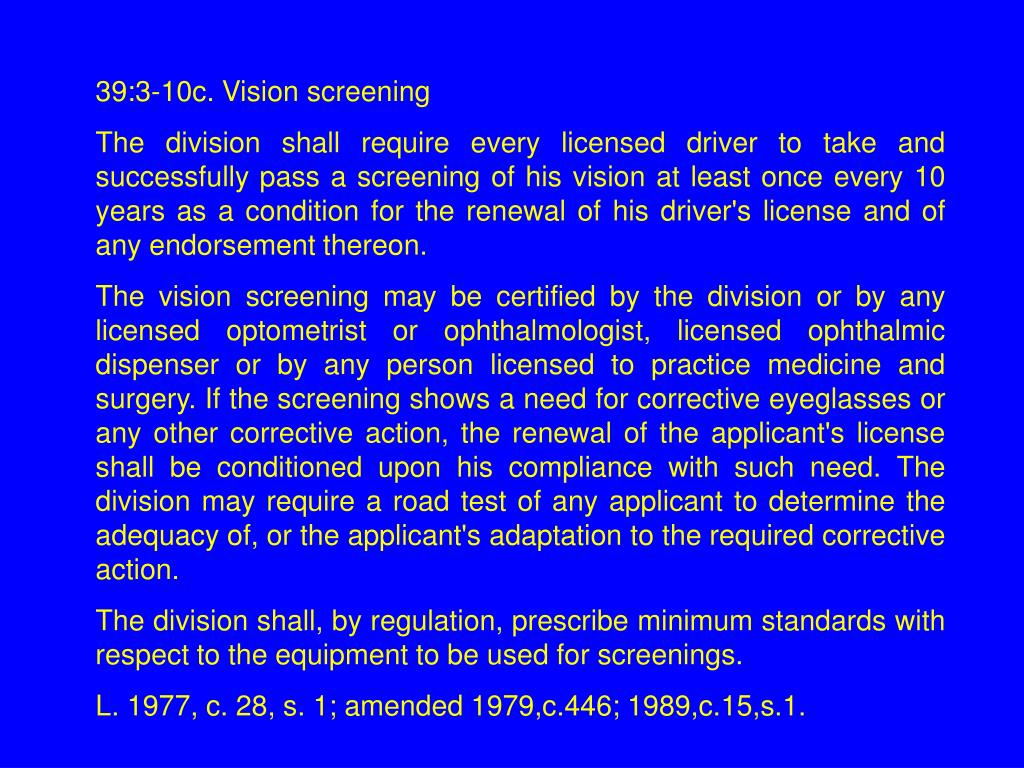 39:3-10c. Vision screening