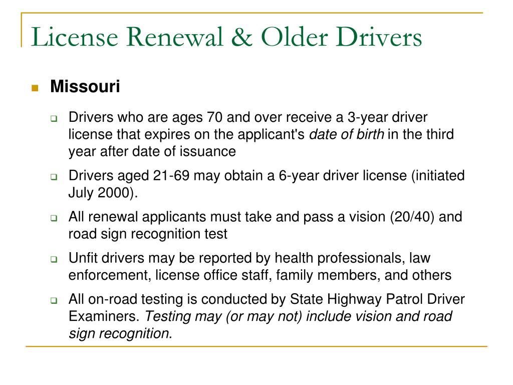 License Renewal & Older Drivers