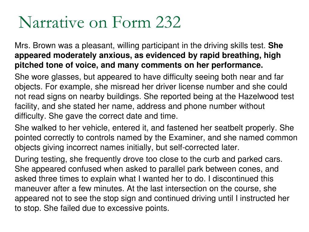 Narrative on Form 232