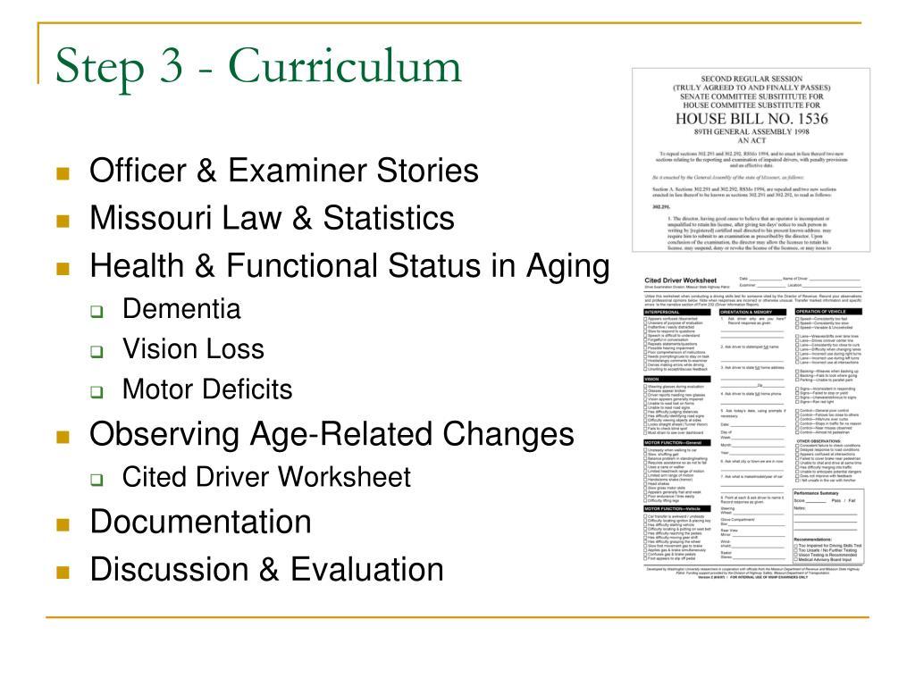 Step 3 - Curriculum