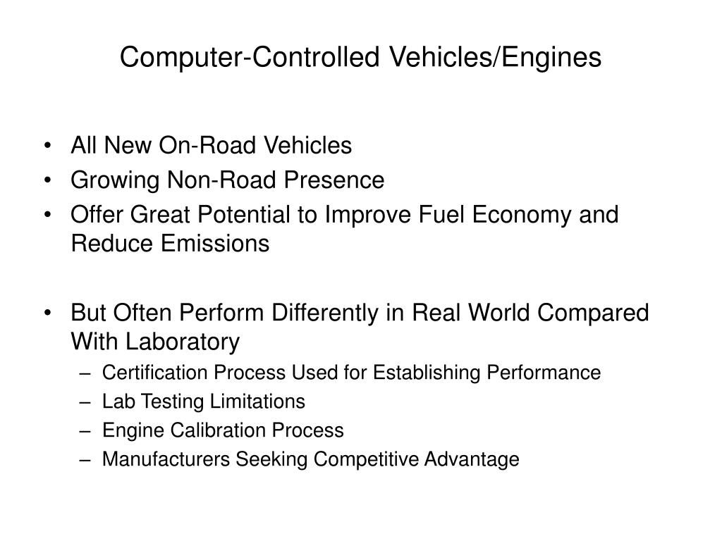 Computer-Controlled Vehicles/Engines