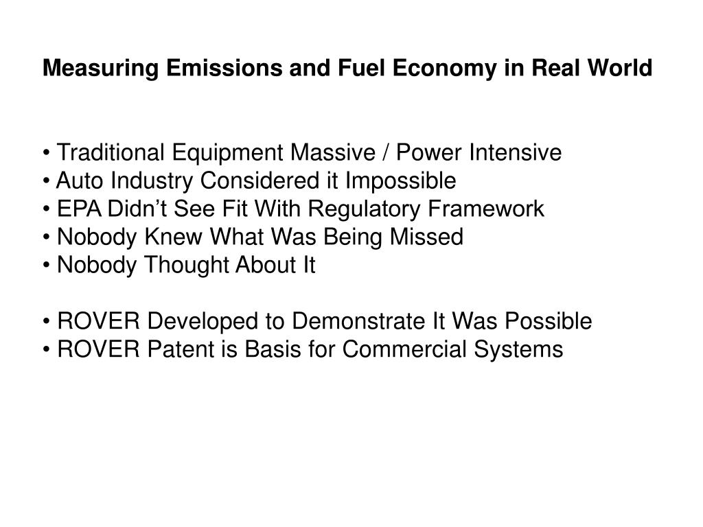 Measuring Emissions and Fuel Economy in Real World