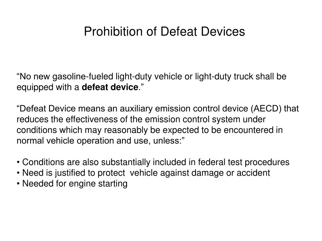 Prohibition of Defeat Devices