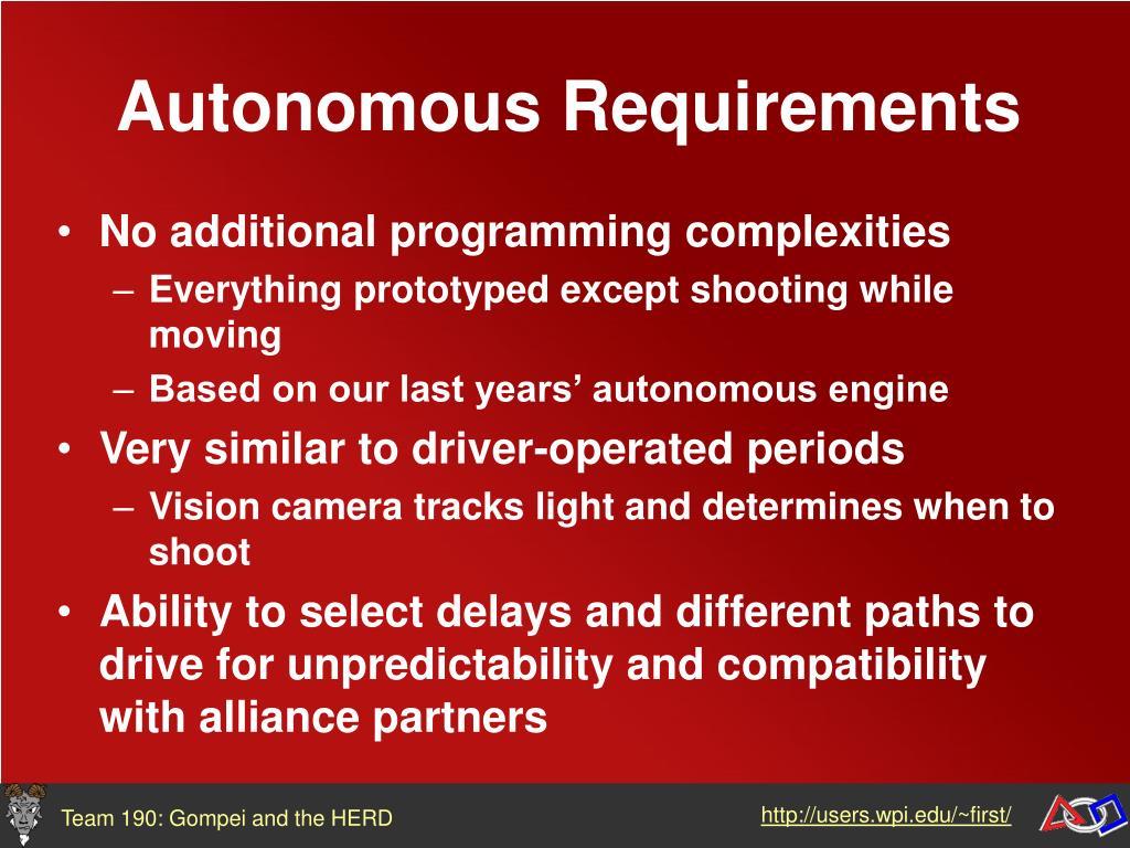 Autonomous Requirements