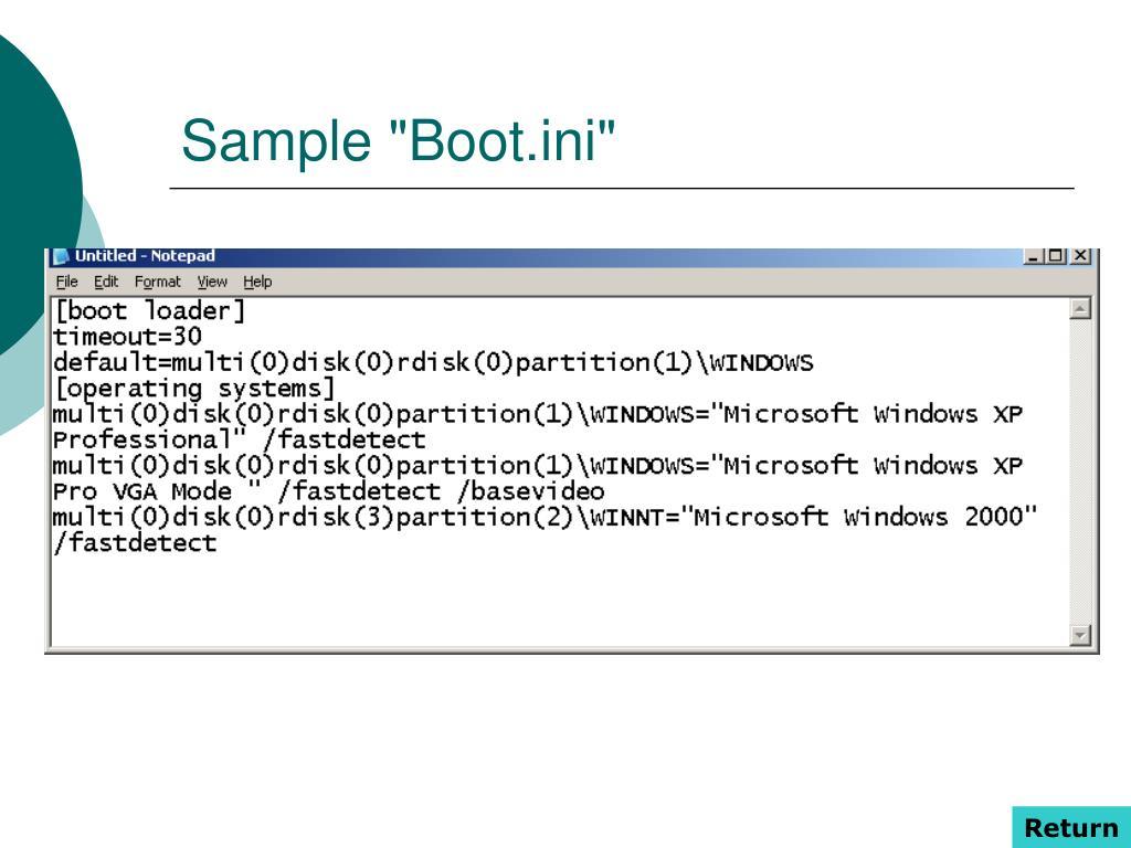 """Sample """"Boot.ini"""""""
