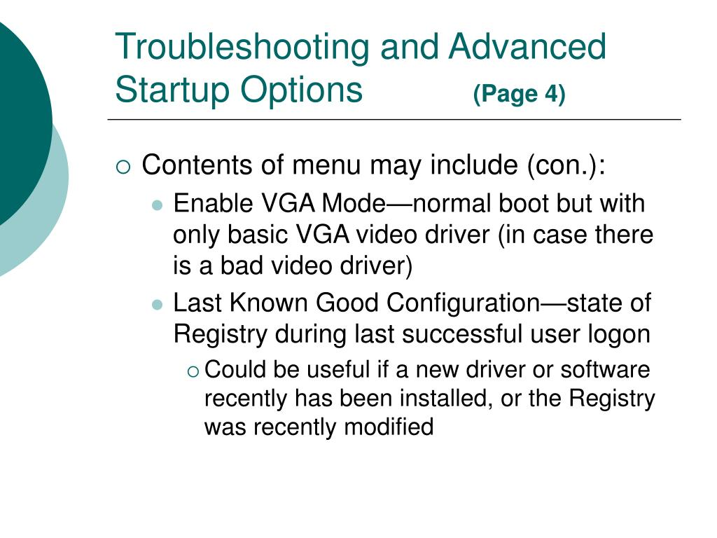 Troubleshooting and Advanced Startup Options