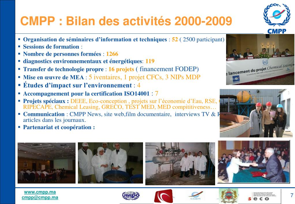CMPP : Bilan des activités