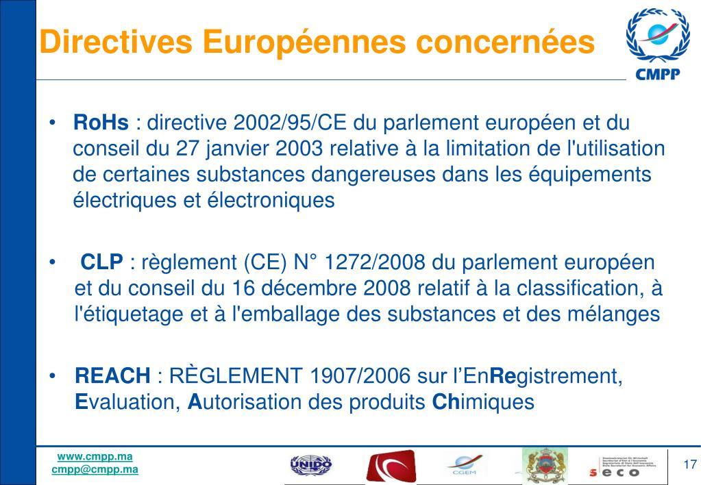 Directives Européennes concernées