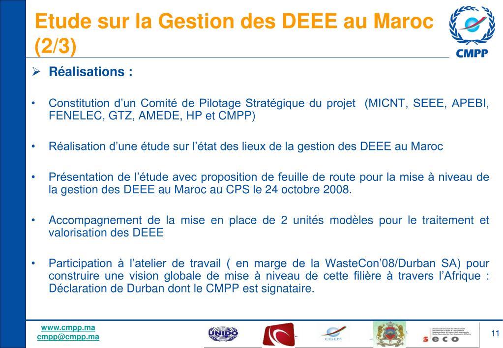 Etude sur la Gestion des DEEE au Maroc (2/3)