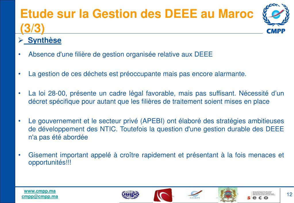 Etude sur la Gestion des DEEE au Maroc (3/3)