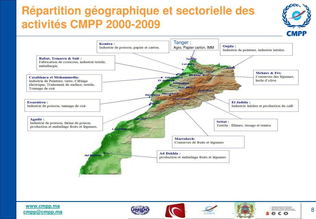 Répartition géographique et sectorielle des activités CMPP 2000-2009