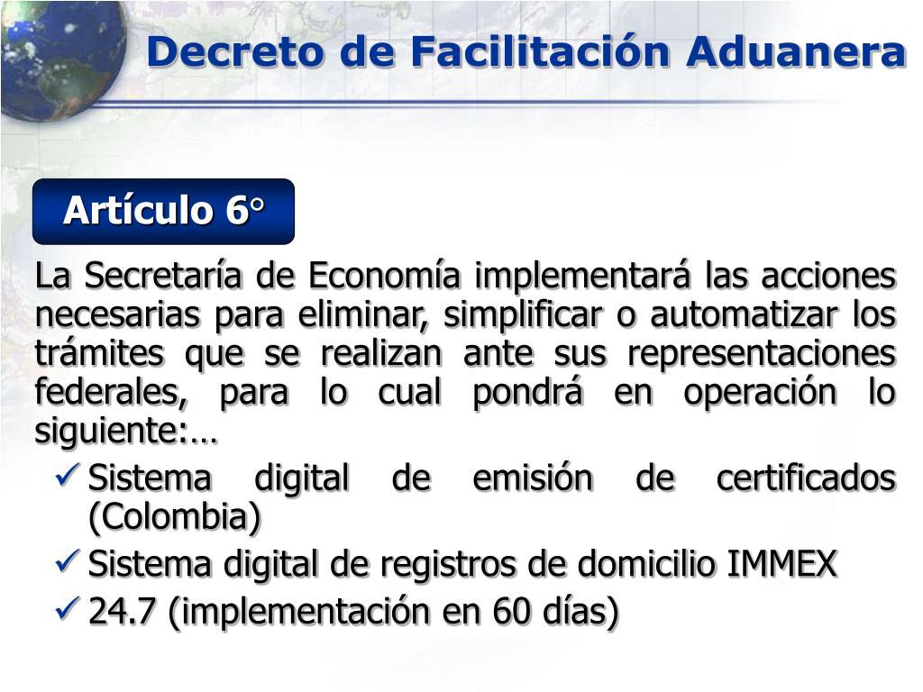 Decreto de Facilitación Aduanera