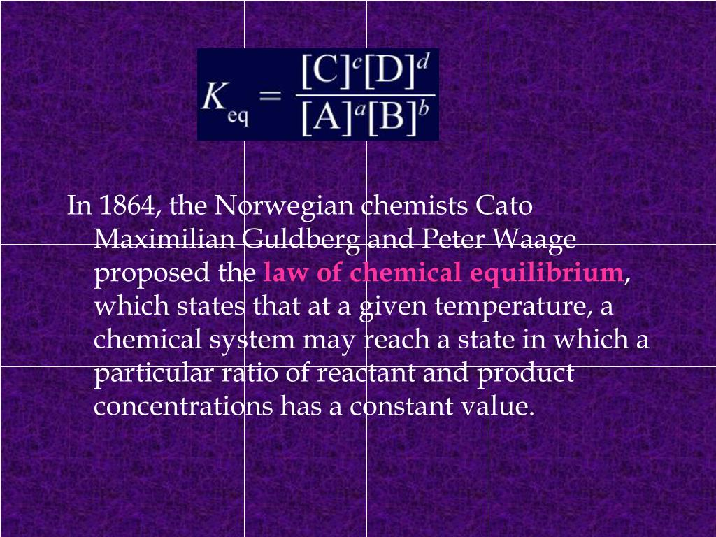 In 1864, the Norwegian chemists Cato Maximilian Guldberg and Peter Waage proposed the