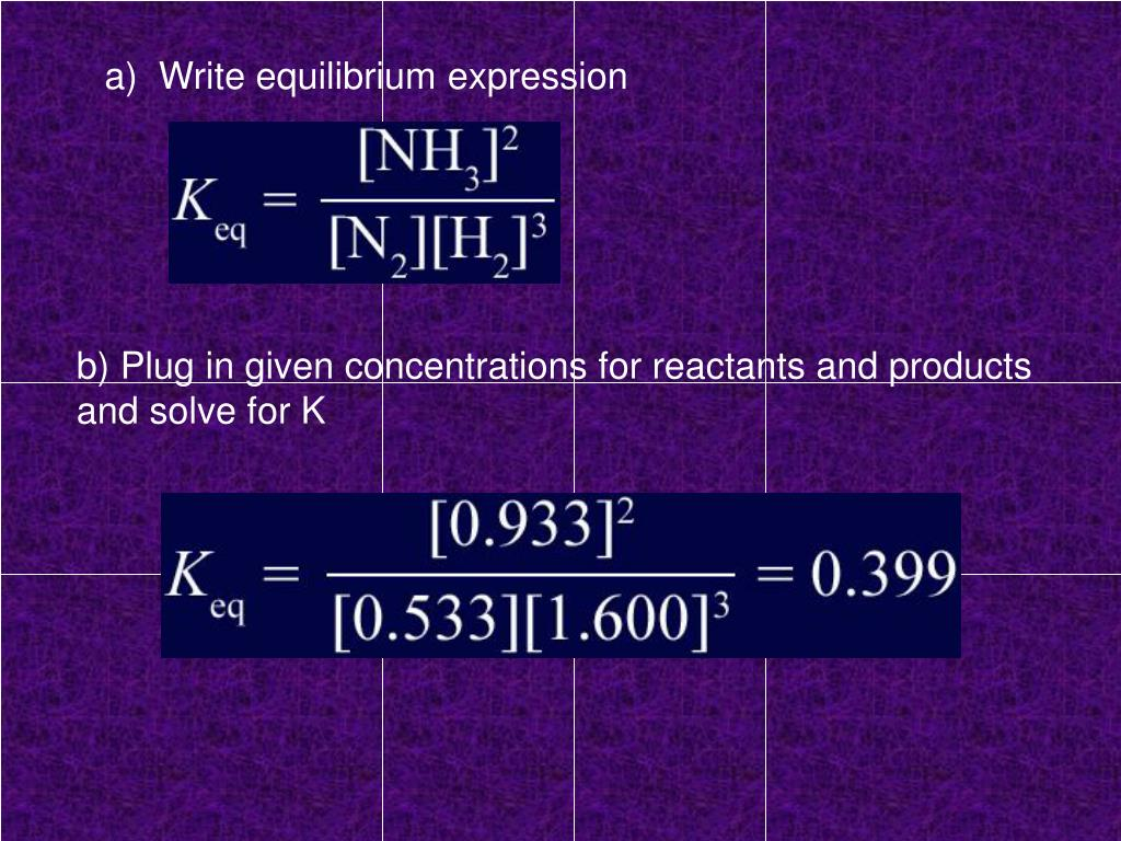 a)  Write equilibrium expression