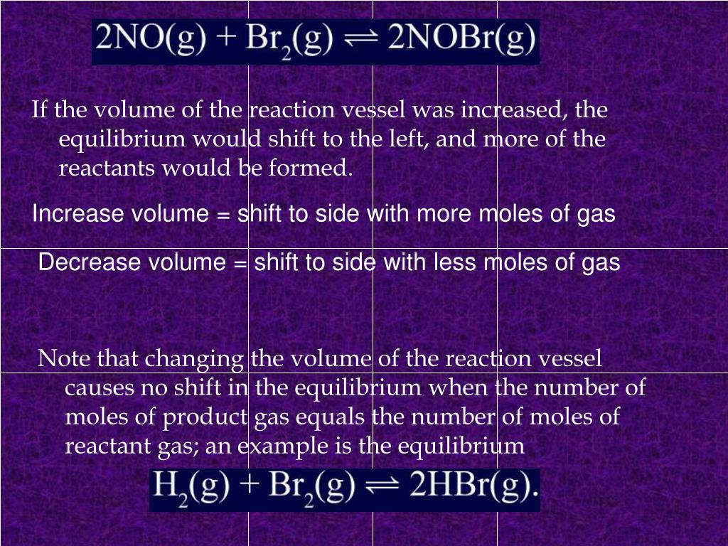 If the volume of the reaction vessel was increased, the equilibrium would shift to the left, and more of the reactants would be formed.