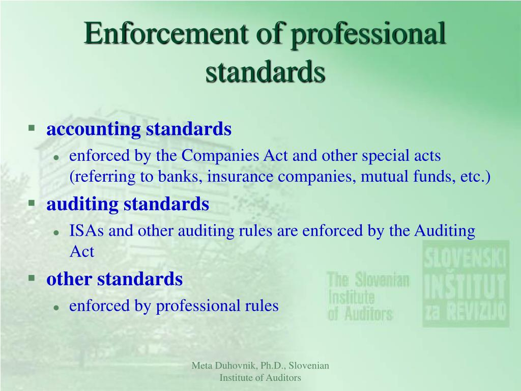Enforcement of professional standards