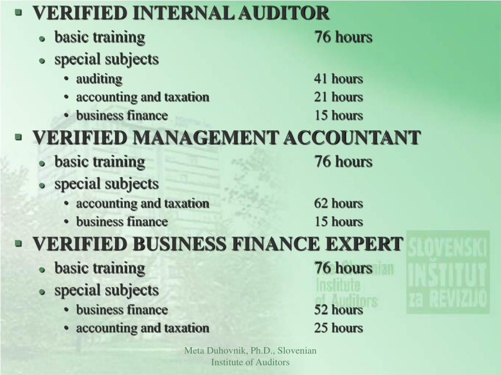VERIFIED INTERNAL AUDITOR