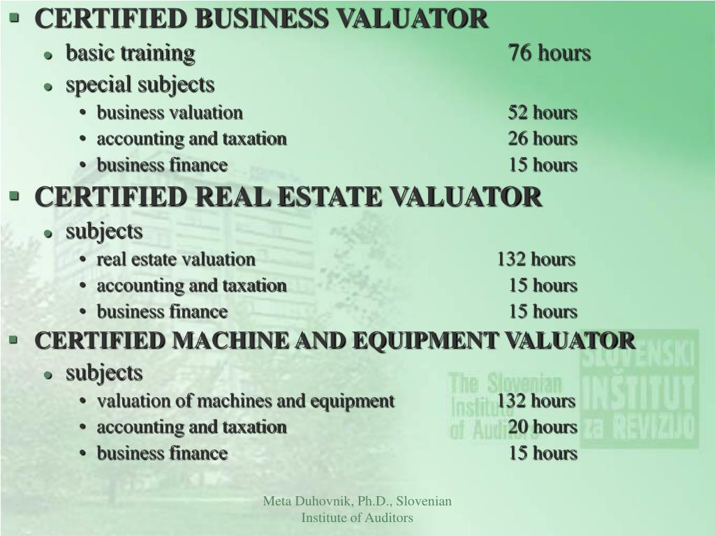 CERTIFIED BUSINESS VALUATOR