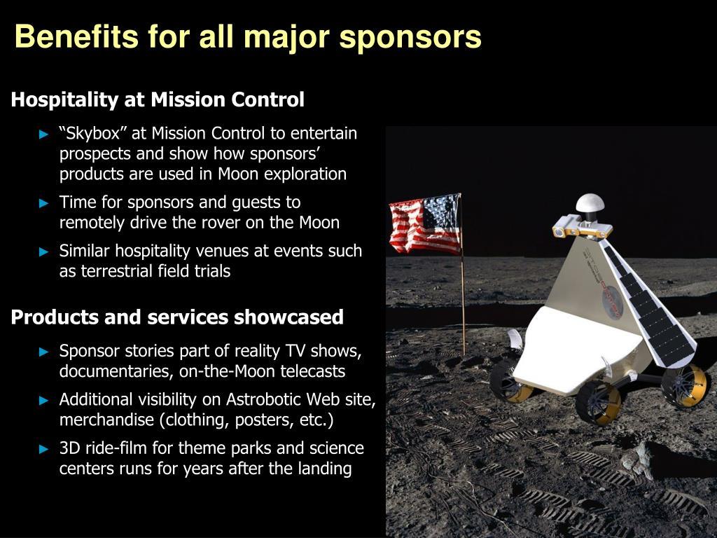 Benefits for all major sponsors