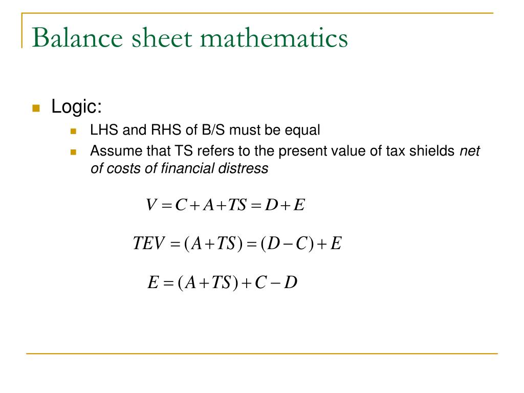 Balance sheet mathematics
