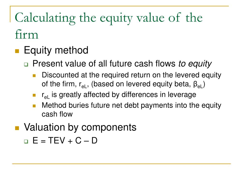 Calculating the equity value of the firm