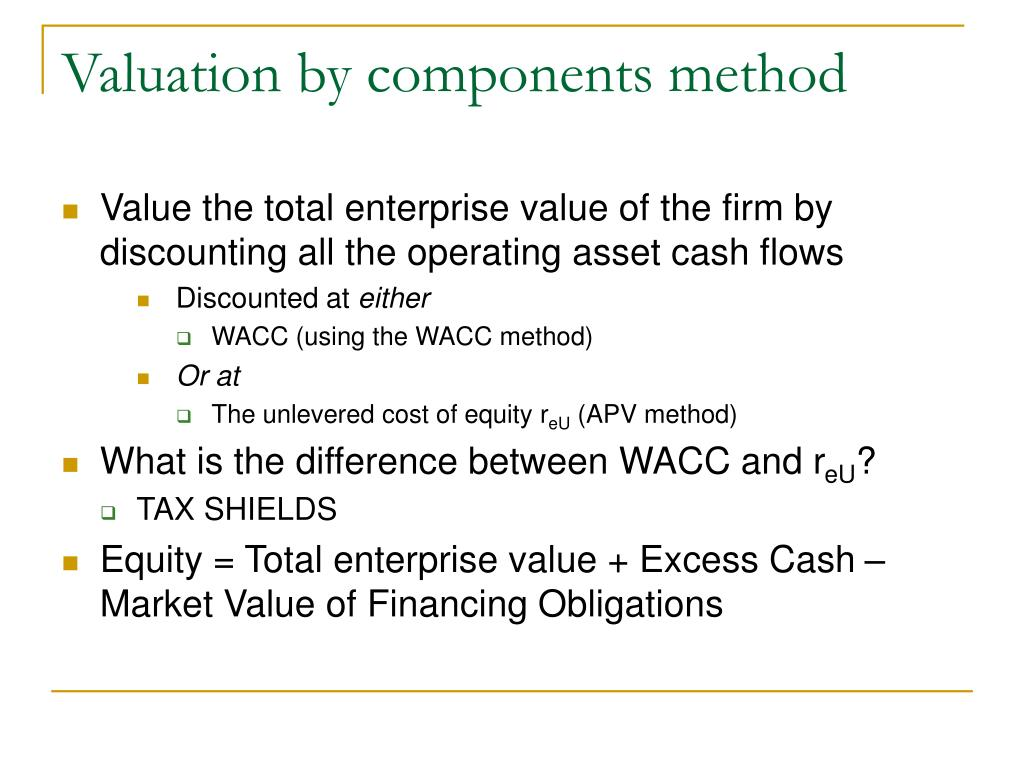 Valuation by components method