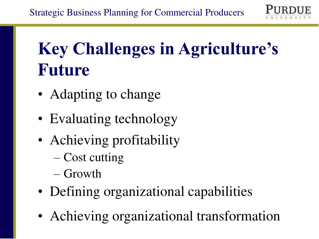 Key Challenges in Agriculture's Future