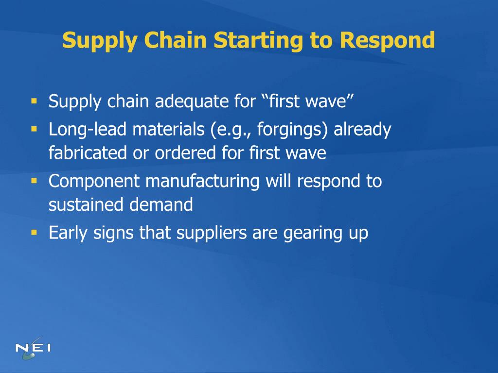 Supply Chain Starting to Respond