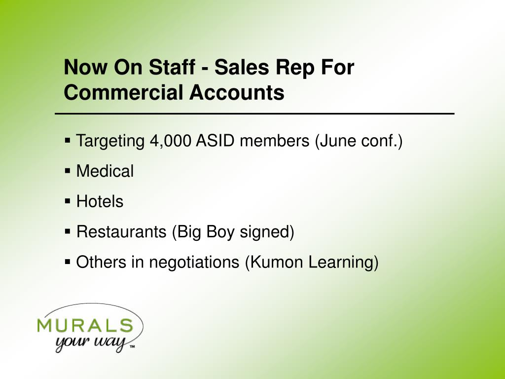 Now On Staff - Sales Rep For Commercial Accounts