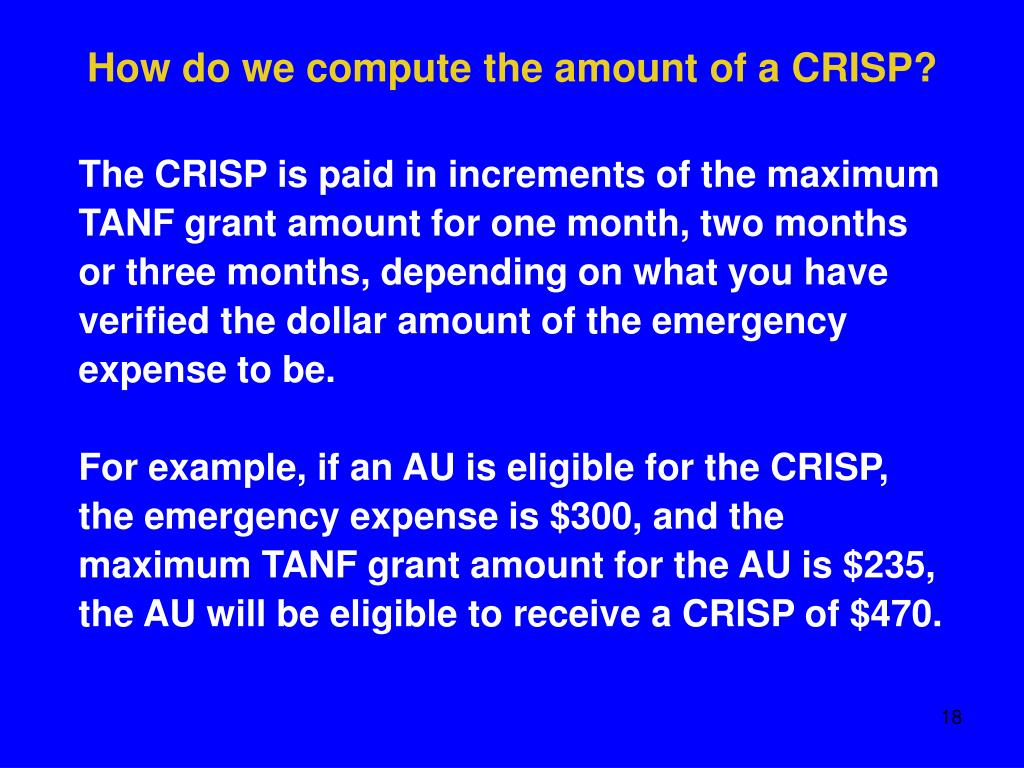 How do we compute the amount of a CRISP?