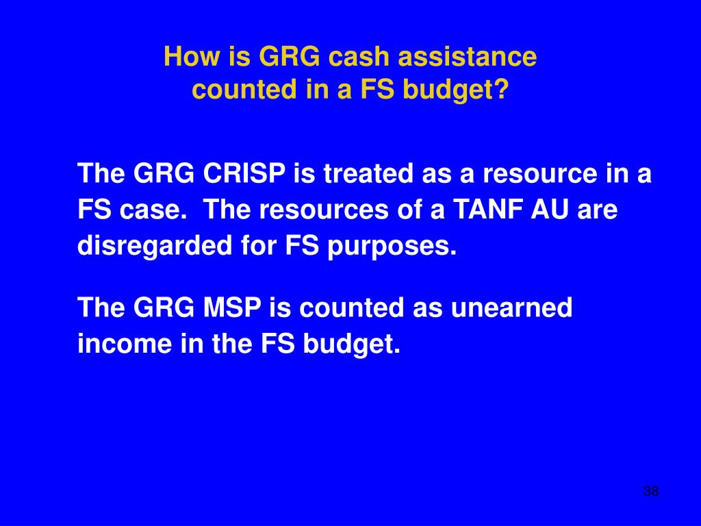 How is GRG cash assistance