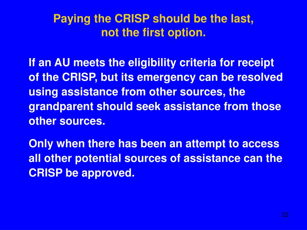 Paying the CRISP should be the last,