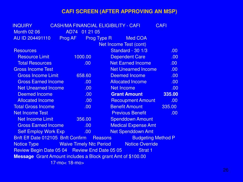 CAFI SCREEN (AFTER APPROVING AN MSP)