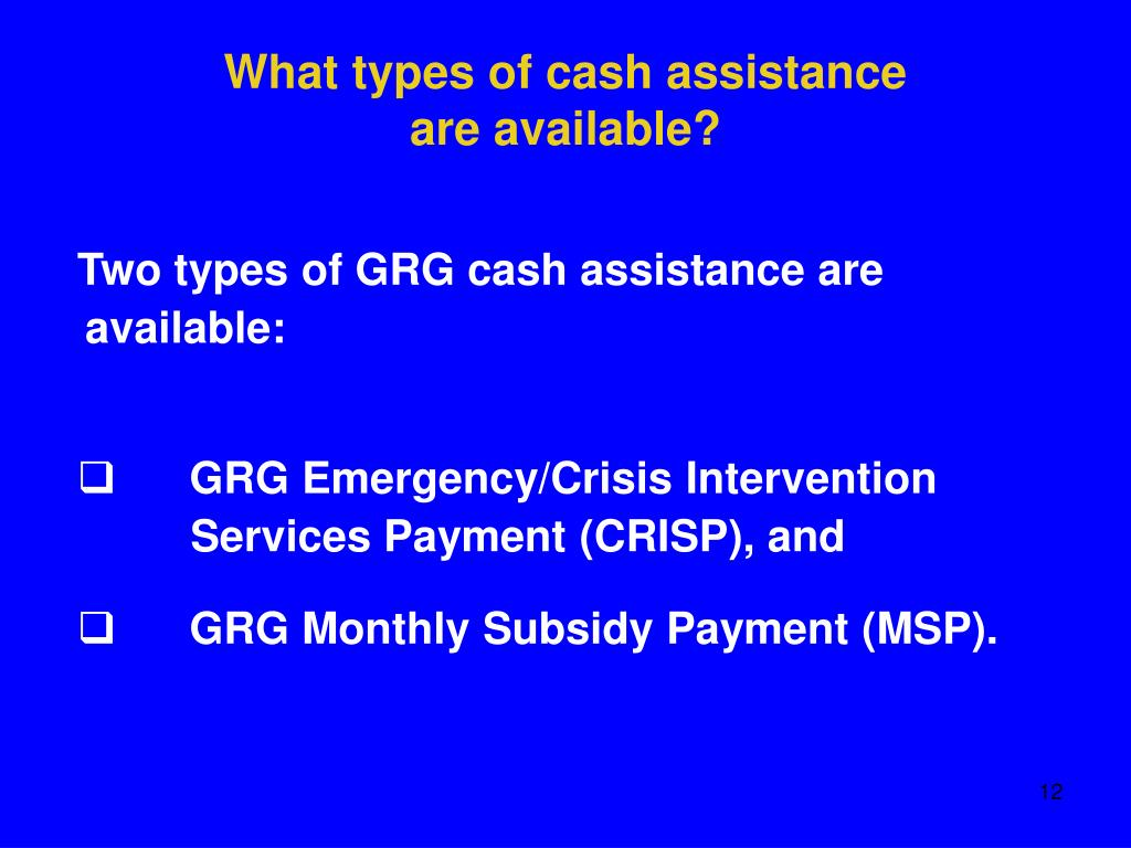 What types of cash assistance