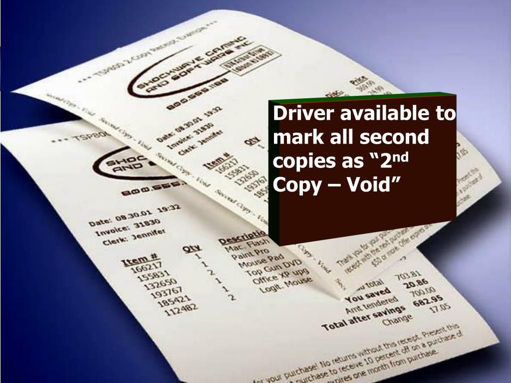 """Driver available to mark all second copies as """"2"""